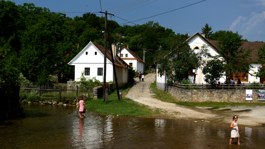 Village scenery for video production in Hungary