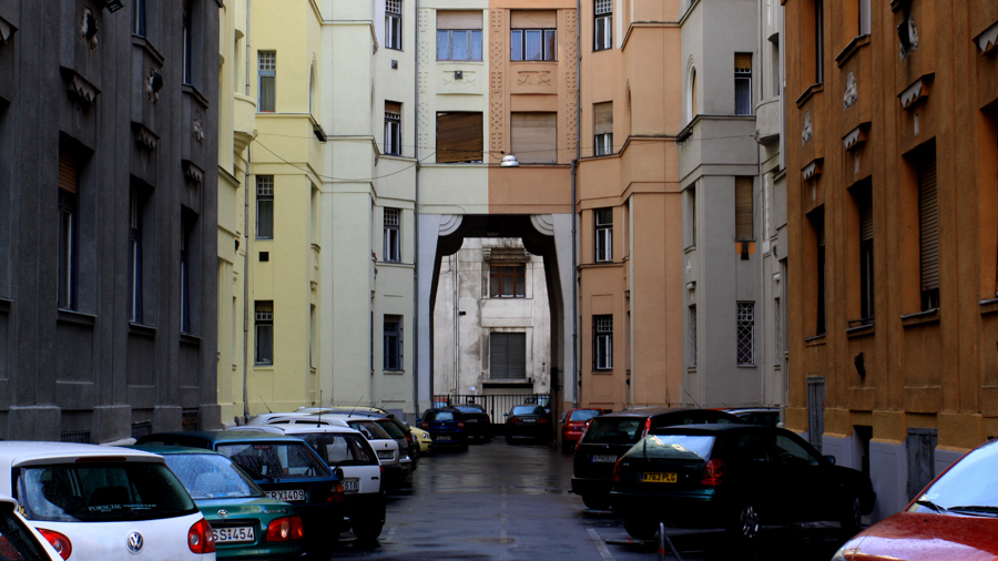 Colorful buildings for TV films in Budapest