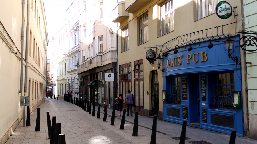 Narrow streets for film making in Budapest