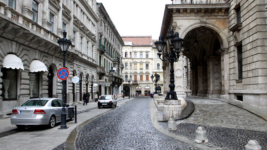 Cobbled street for shooting in Budapest