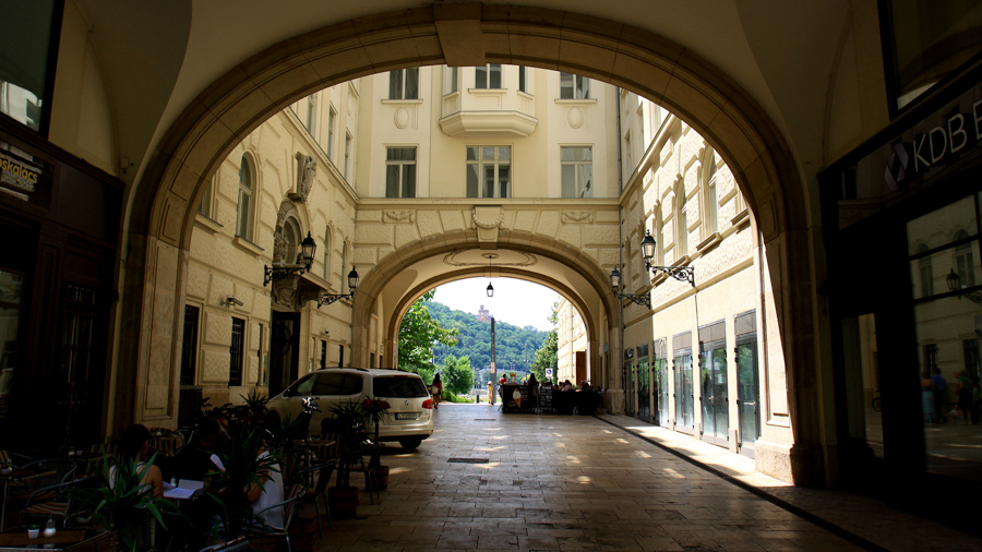 Archways for video production in Budapest