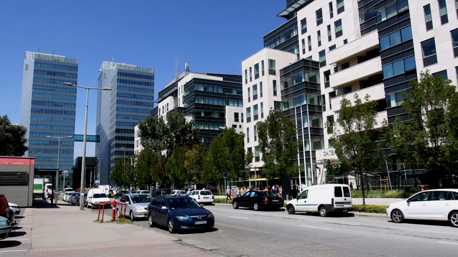 Modern office buildings for filming in Budapest