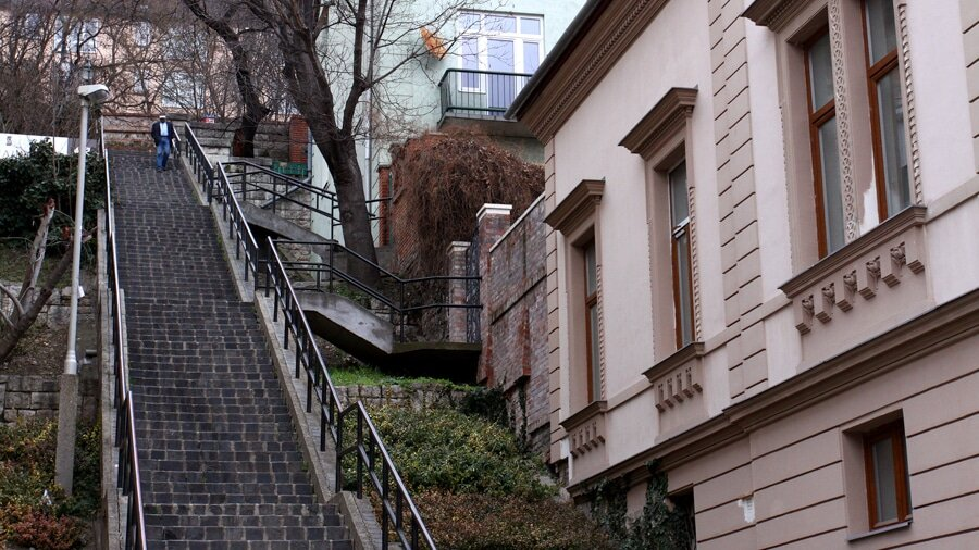 Steep stairs for photo production in Hungary